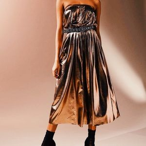 Urban Outfitters Hollywood Copper Shiny Jumpsuit